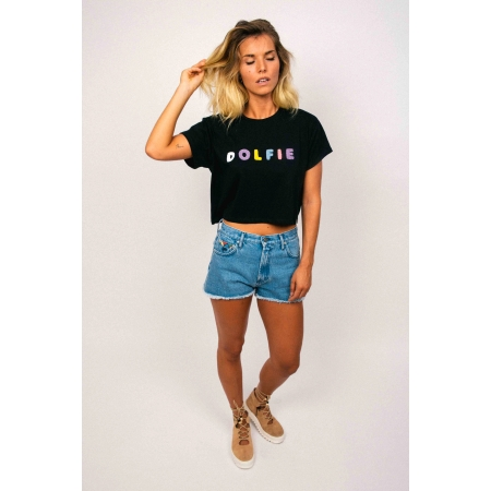 T - SHIRT CROP WOMAN 10 - RAINBOW - BLACK