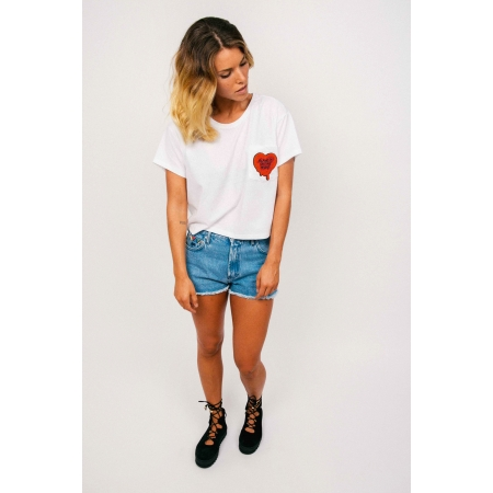 T - SHIRT CROP WOMAN 14 - RETRO BLAME IT - WHITE