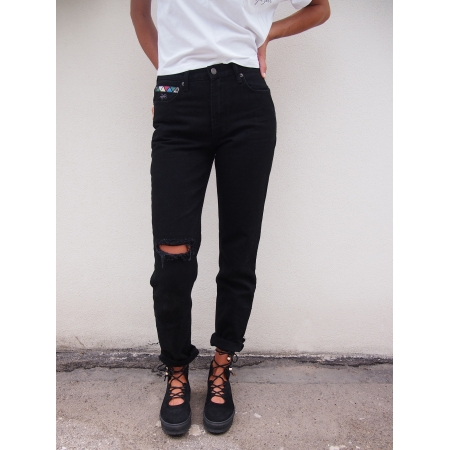 JEANS WOMAN ROSE - JEANS BLACK RETRO